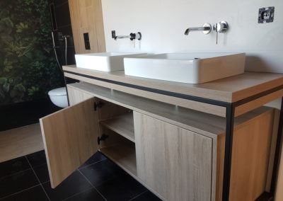Meuble salle de bain bois métal